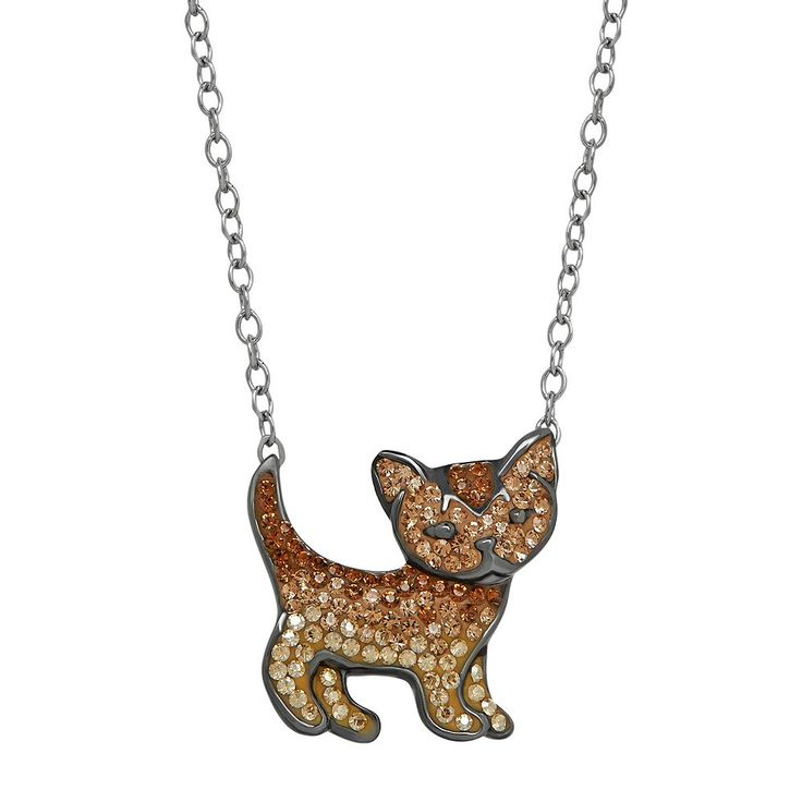 Animal Planet Sterling Silver Crystal Cat Necklace, Women's, Brown