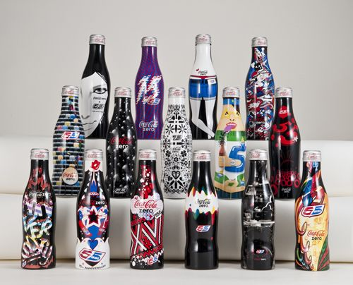 Diesel's 55DSL and Coca-Cola Zero encouraged Japanese designers to create new looks for the limited edition of the contour bottles, dedicated to the 15 Anniversary of the brand.
