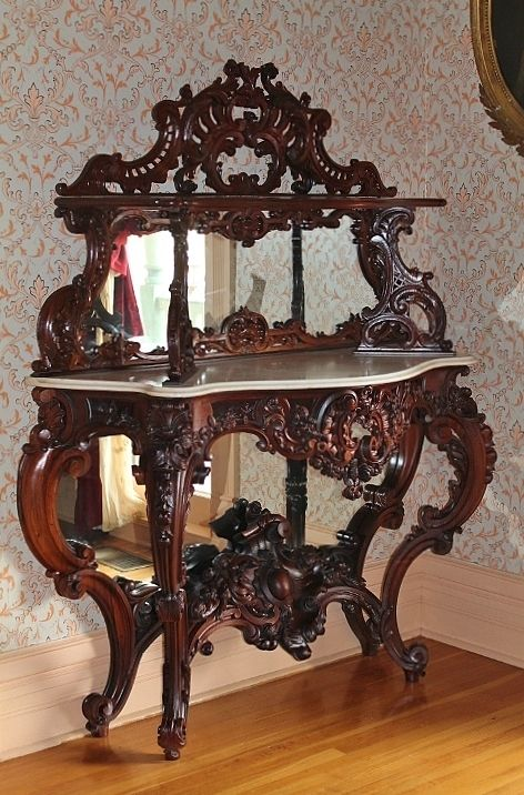 # Museum Quality ~ EXTREMELY RARE American Rococo Revival Rosewood Marble-Top Étagère ~ Attributed to Alexander Roux, New York ~ ca. 1850's ~ Collector Piece ~ Master Artistry