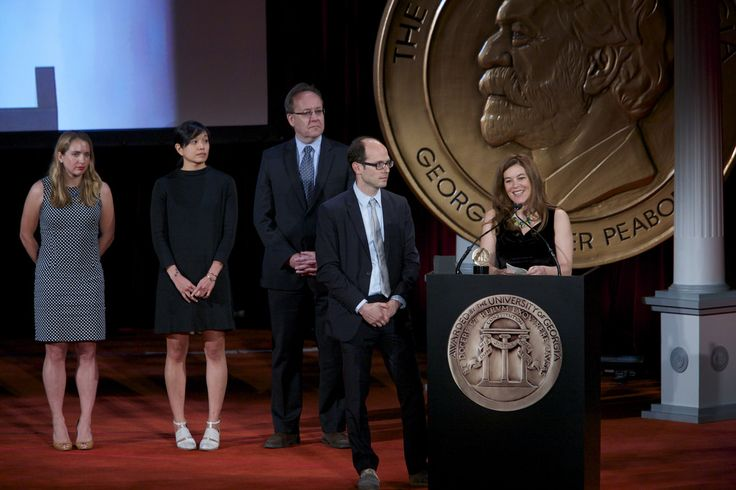 """Jason Spingarn-Koff, Katerina Cizek, Gerry Flahive, Lindsay Crouse and Jacky Myint accepted the 2013 Peabody Award for """"A Short History of the Highrise."""""""