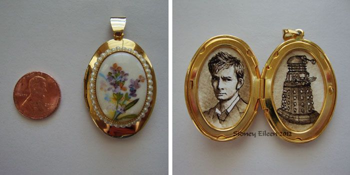 Title: In Fond Memory of the 10th Doctor.  Artist: Sidney Eileen.  Artwork: These mini-paintings created in brown ink on watercolor paper are each about 3/4″ across and 1″ tall. The oval filigree locket which holds the paintings is 1.5″ tall and 1.25″ wide when closed.  Portrait of David Tennant as the 10th Doctor Who, faced with a Dalek.
