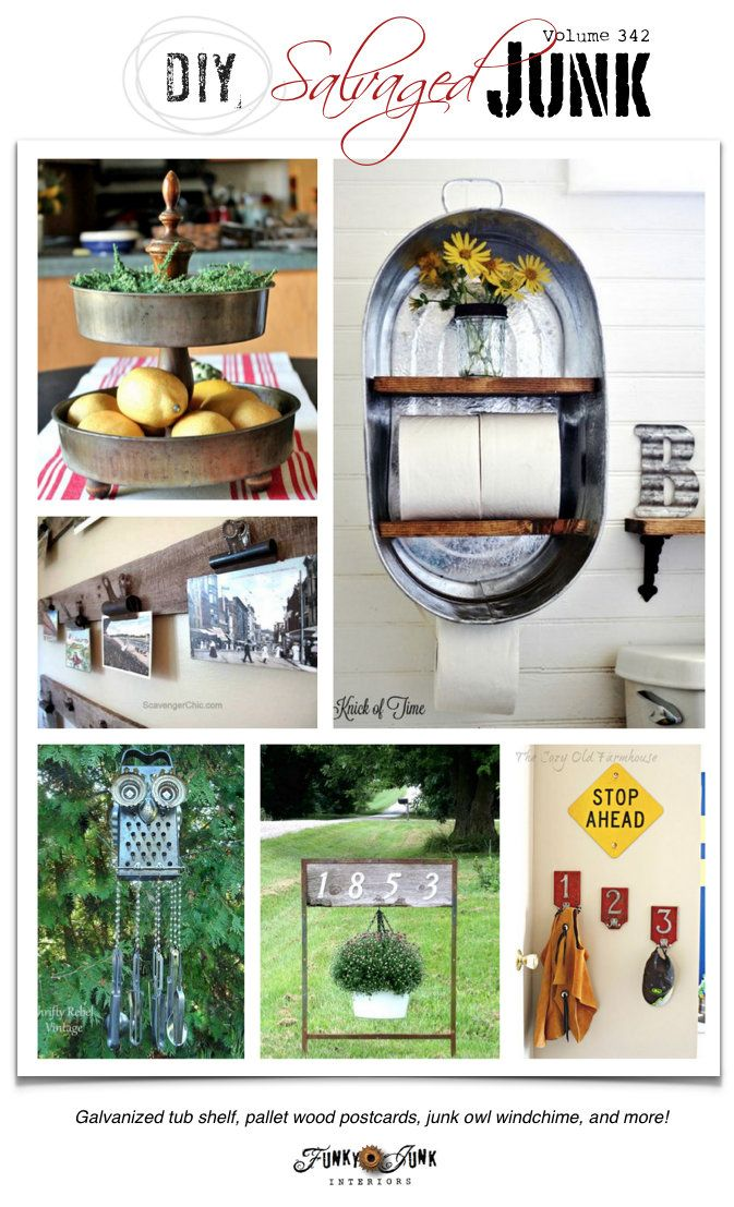 DIY Salvaged Junk Projects 342 - Galvanized tub shelf, pallet wood postcards…