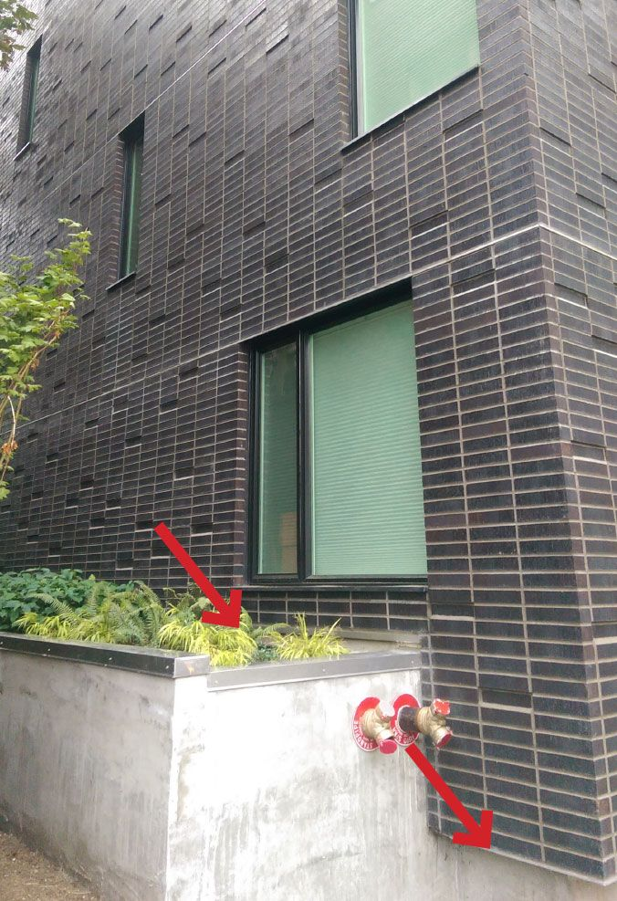 Stack bond bricks | Assembly 3:Wood-Framed Wall with Anchored Masonry Veneer