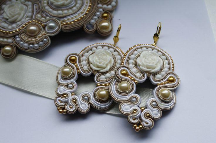 white flowers in soutache earrings