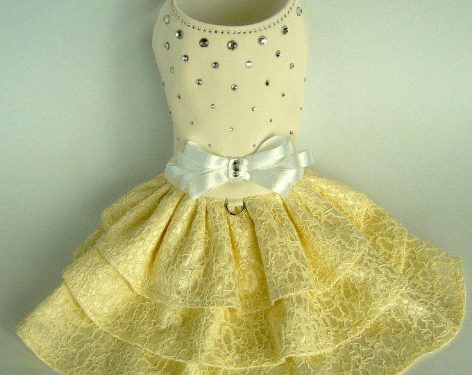 Arnés de perro marfil vestido con diamantes de imitación boda vestido de perro perro pequeño vestido cumpleaños perro vestido de alta costura el Custom perro ropa perro