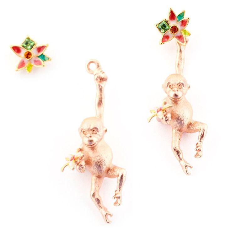Orangutang & Flower Earring  Our new #orangutang & #flower earrings can be worn together or as a simple floral stud! ✨  #BillSkinner #Swarovski #rosegold #enamel