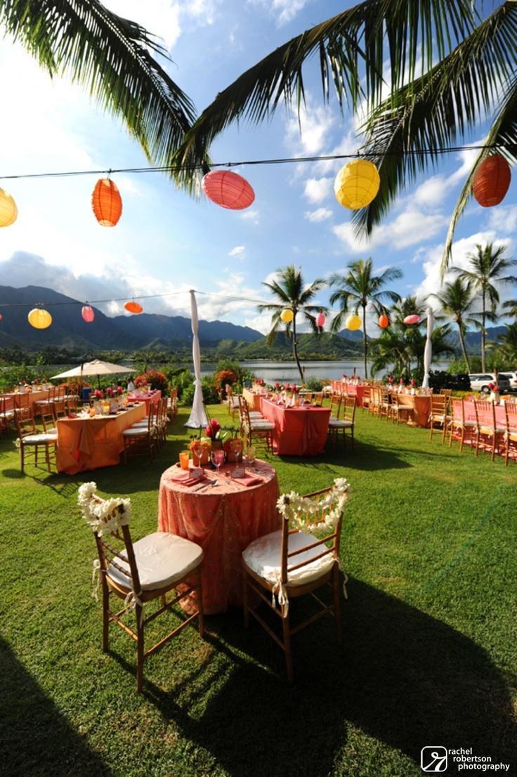 island wedding.  yellow and tangerine reception        www.rachelrobertson.com