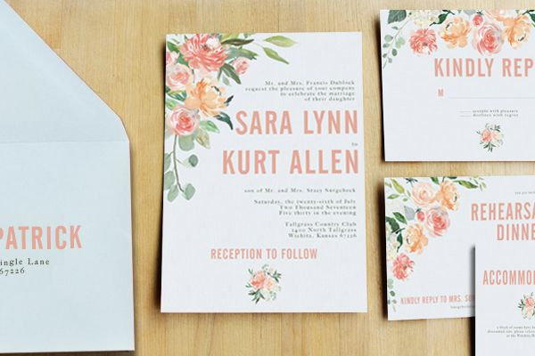 Peach and sage green floral wedding invitation. Combo of peach blush and pink wedding palette from Unica Forma