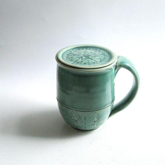 Ceramic Mug with Lid in Celadon Green, Lidded Mug, Mug with Cover, Hand-Carved