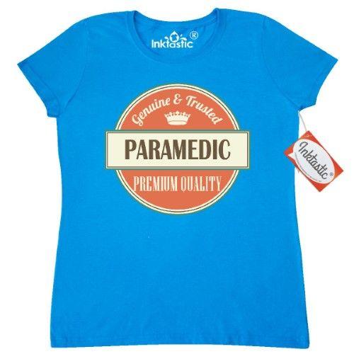 Inktastic Paramedic Funny Gift Idea Women's T-Shirt Retired Occupations Job Vintage Logo Clothing Classic Career Apparel Tees Adult Hws, Size: Medium, Blue