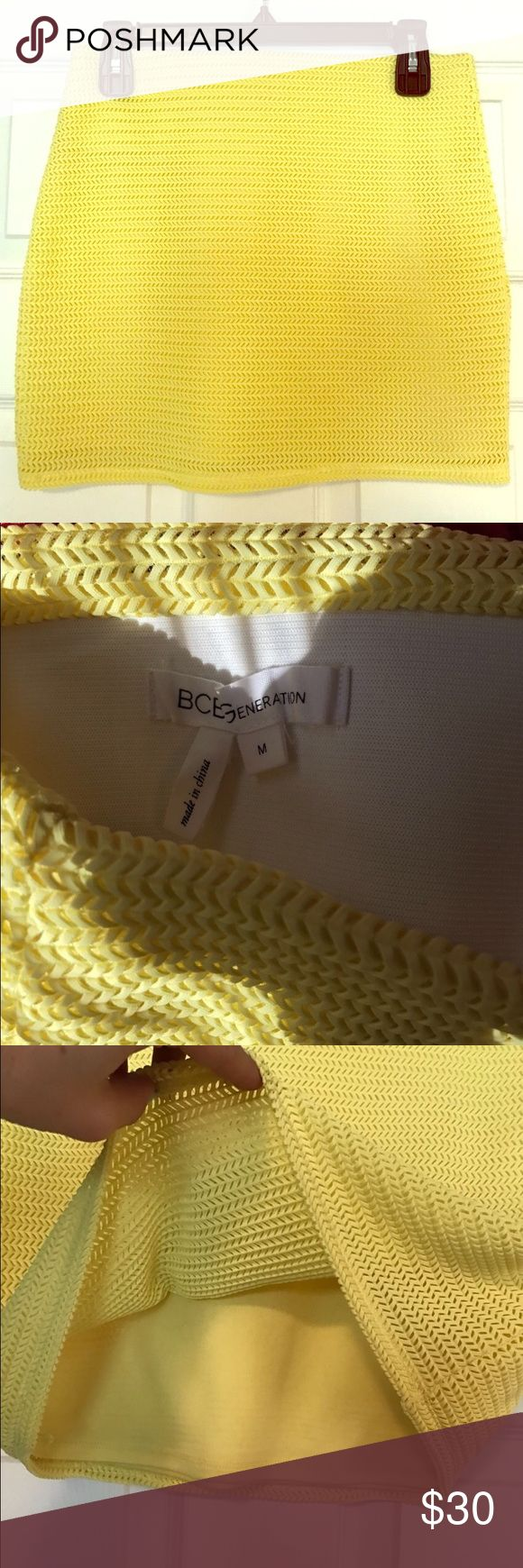 PRICE DROP❗️BCBG tube skirt BCBGeneration yellow tube skirt. Form fitting. Has lining and nice wide Elastic band along waistline (if that is an area of issue!) perfect for a night out on the town! BCBGeneration Skirts Mini