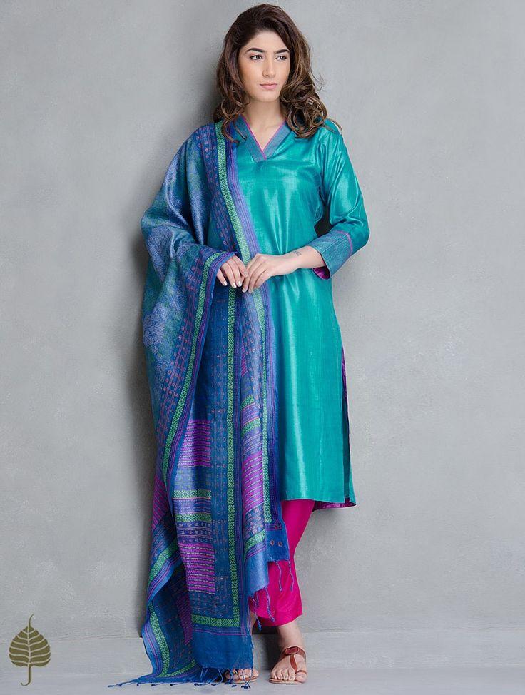 Buy Turquoise Pink Tussar Kurta by Jaypore Silk Apparel Tunics & Kurtas Print Paradise Vibrant Hand Block Printed Dupattas More Online at Jaypore.com
