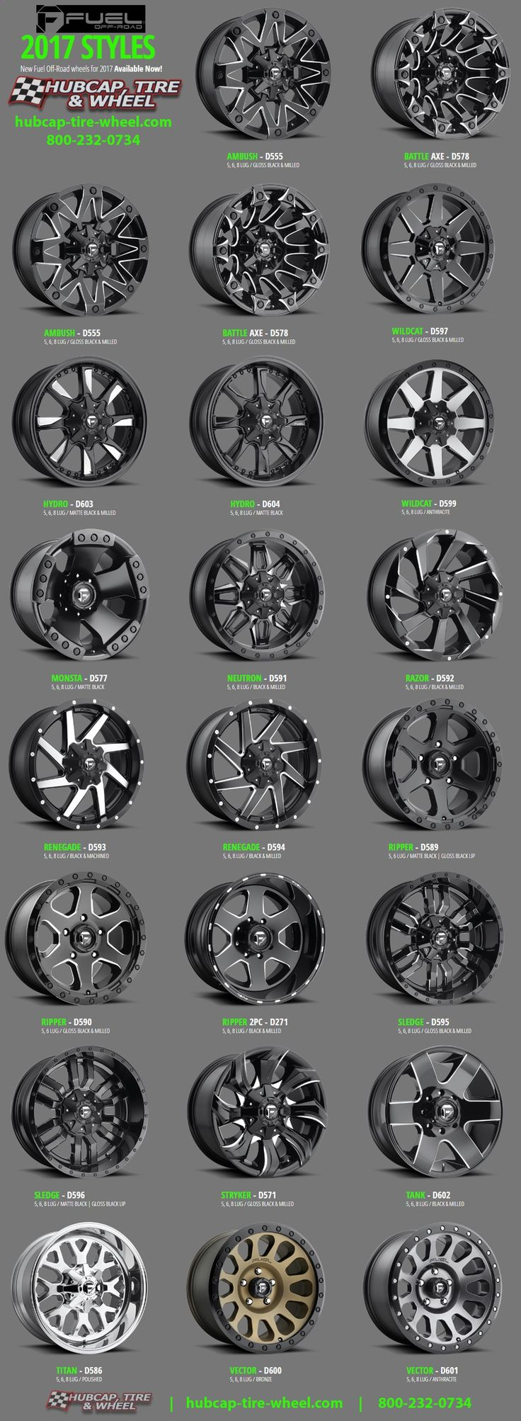 2017 Fuel Off-Road Wheels  Rims - For Jeeps, Trucks, SUVs
