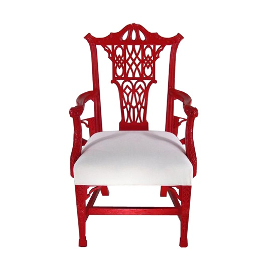 "Chinese Chippendale-Style Arm Chairs, 3 available, $570.94 each.  Chinese Chippendale-Style Arm Chairs, 20th C., red lacquer with white seat cushions.  41""H. x 24""W x 21""D  In stock and ready to ship."