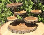 Log Elm Wood Rustic Cake Cupcake Stand with Lazy Susan Wedding party shower wooden Lumber Jack wild things boho trendy sale discount