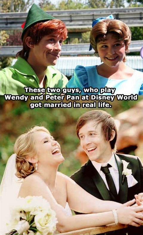 They were meant to be together: the guy playing peter ended up marrying the girl playing wendy. On another note Disney did not want him playing peter pan because he started to get wrinkles under his eyes, they offered him other characters, but he only wanted be peter pan.