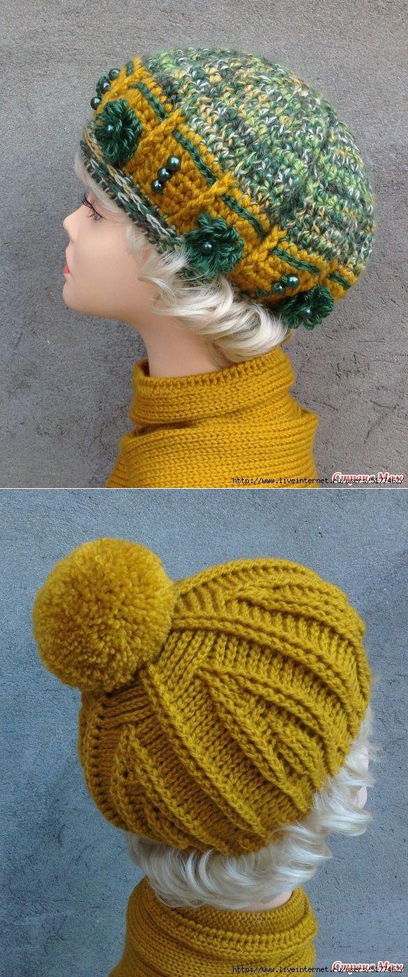 схемы вязания модели женских беретов шапочек