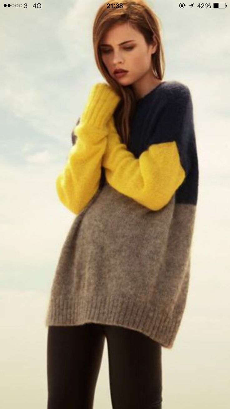Oversized colour blocked sweater.