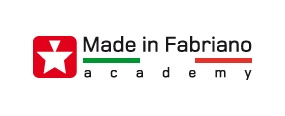 Logo Made in Fabriano Academy. Bianco e rosso come i colori sociali del Comune di #Fabriano.