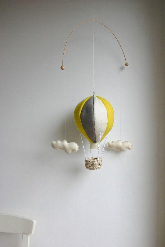 baby mobile, CUSTOM COLOURS, nursery mobile, gray yellow mobile, baby room decor, felt hot air balloon, wool felt, mobile