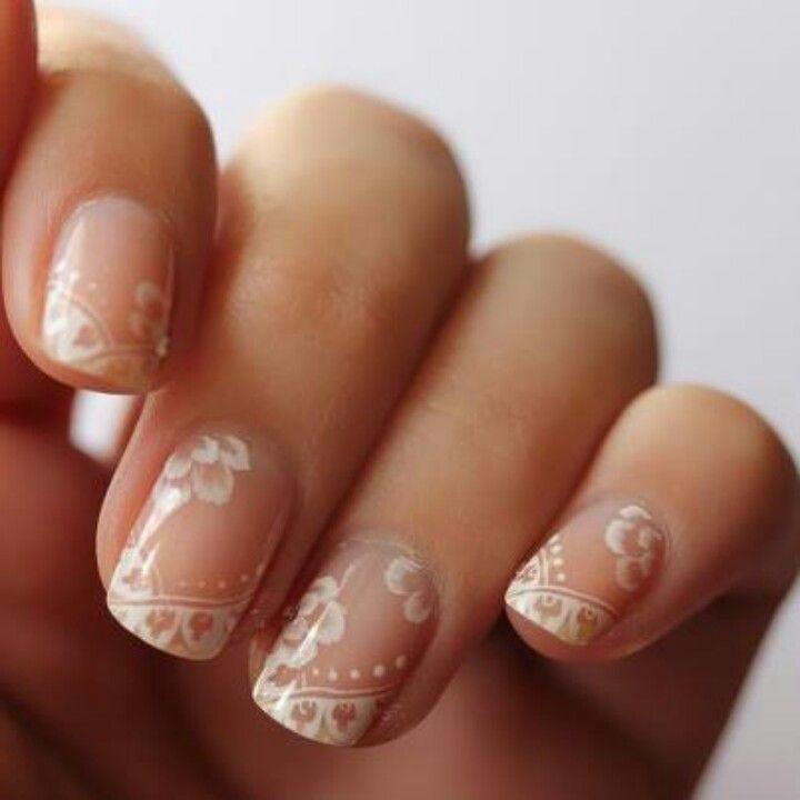 White Airbrush Nail Design Art In Life Wedding Nails Bridal