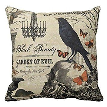 Accent Pillows for Sofa Modern Vintage Halloween Crow and Skull Pillows Cove Pillow Protector