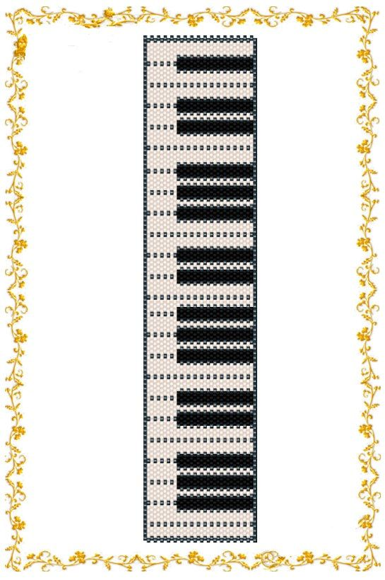 "Beading pattern Bracelet ""Piano"". Even count peyote. Seed bead pattern. Peyote pattern . Instant Download. Pattern PDF."