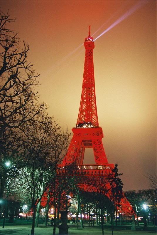 In January 2004 the Eiffel Tower turned red for the first time in history, to mark the Chinese New Year and a year celebrating cultural ties between France and China. I had the good fortune to be living nearby at the time and found it pretty neato.