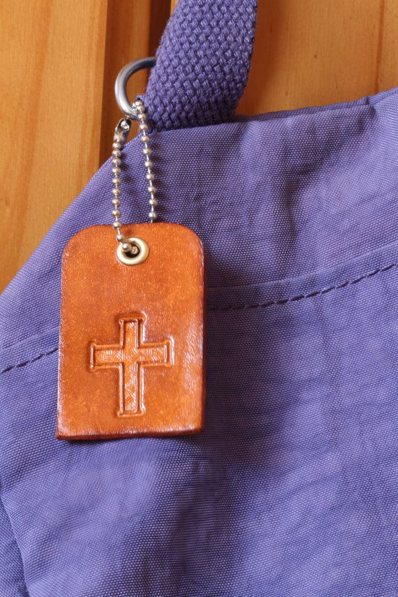 Handmade Leather Religious Cross Bag Charm by Tina's Leather Crafts on Etsy.com.  Repin To Remember.