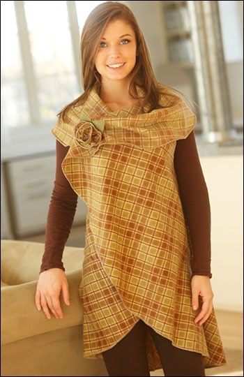 An idea for - The 5-Way Wrap (IJ957) sewing pattern provides five fashionable looks in one quick & easy design.  Make from two-sided fabric such as fleece, flannel, batiks, wool or linen.  Sizes S/M or L/XL. From IndygoJunction.com
