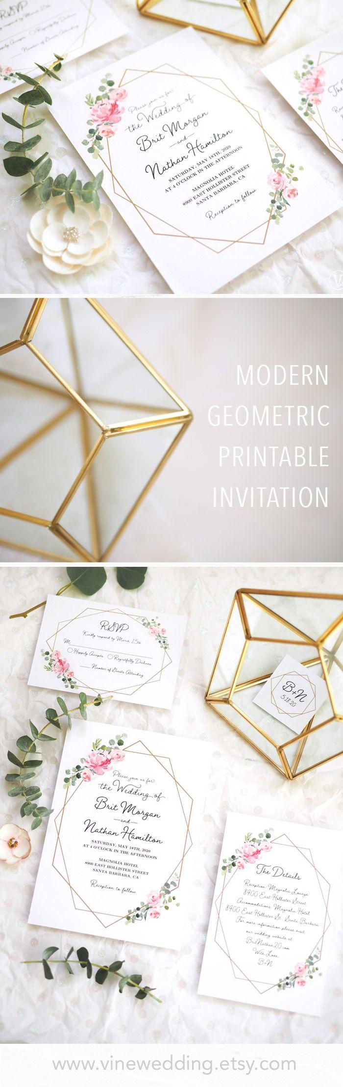 Blush Pink Wedding Invitation #weddinginvitations #blushpink #weddings #vinewedding