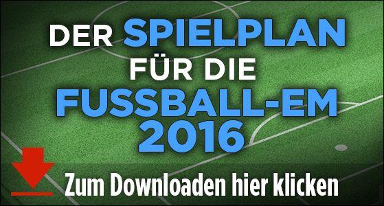 Der Spielplan für die Fußball-EM 2016 in Frankreich von BILD! http://www.bild.de/media/teaserbild-em-spielplan-2016-vw-43763344/Download/4.bild.pdf http://www.bild.de/sport/fussball/em-2016/die-gegner-der-nationalmannschaft-bei-der-em-2016-in-frankreich-43774854.bild.html