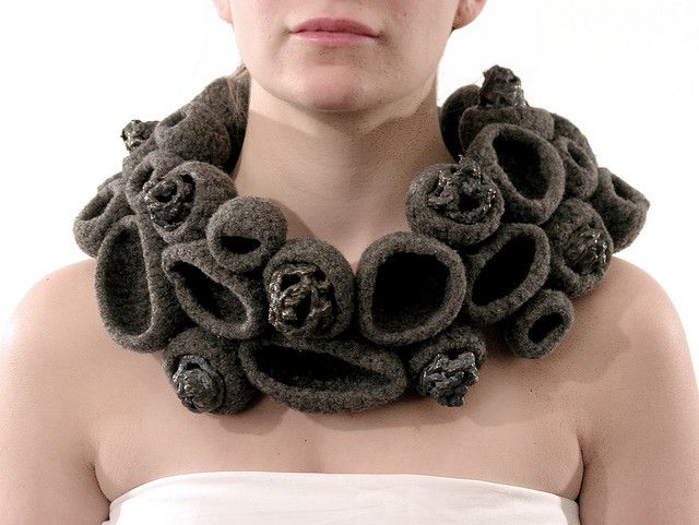 Dimensional fibre jewellery - Sessilia by Abigail Williams - scuptural 3D necklace #art #jewellery #crafted