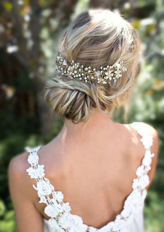 Boho Gold Halo Flower Hair Crown Wedding Updos / http://www.himisspuff.com/bridal-wedding-hairstyles-for-long-hair/41/
