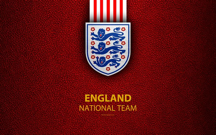 Download wallpapers England national football team, 4k, leather texture, emblem, logo, football, England, Europe