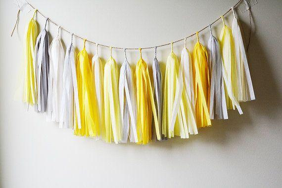 Yellow Rose Tassel Garland, Wedding Backdrops, Baby Boy Nursery, Baby Shower, First Birthday Bunting, Newborn Photo Prop