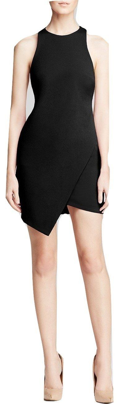 Bec & Bridge Women's Isis Angle Dress, Black, Size X-Small (2). Bec & Bridge eschews embellishments for a minimalist dress in a well-cut silhouette that perfectly defines the feminine form. Round neck, sleeveless. Racerback, concealed zip back closure, asymmetric faux wrap skirt, lined. Nylon/elastane; lining: polyester/elastane. Dry clean. Imported.
