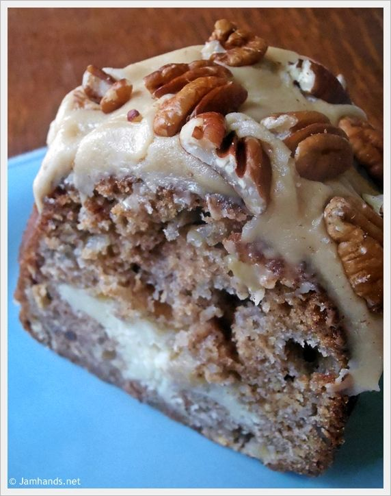 Apple and Cream Cheese Bundt Cake with Caramel Pecan Frosting at www.JamHands.net