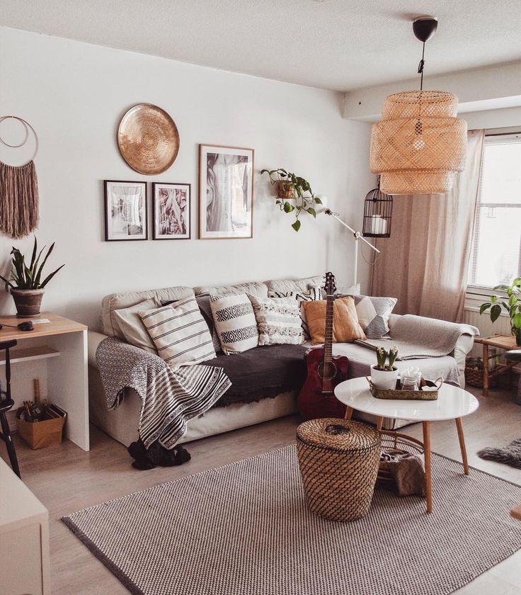 Wohnzimmer Sofa Beige Ikea Sinnerlig Lampe Anhanger Bast Neutral