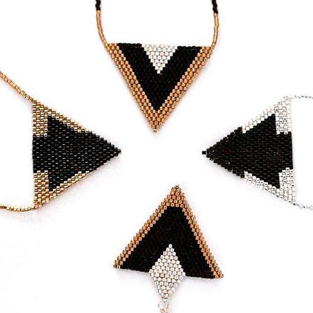#miyuki #miyukibeads #miyukinecklace #geometricjewelry #geometricnecklace #handmadejewelry #handmadenecklace #jewelrydesign #jewelrymaking #gemsbygwen #instajewelry #accessories #trianglenecklace #beadednecklace #beadedjewelry #beads #beading #beadwork #goldandblacknecklace #silverandblacknecklace