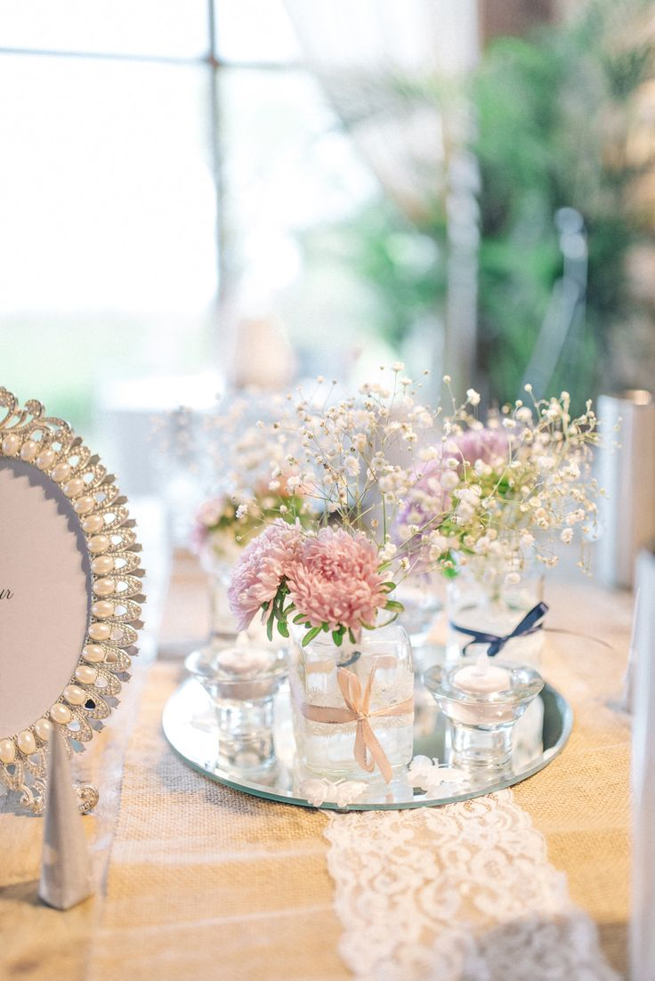 Vintage Centrepiece | Newton Hall Wedding Venue | Vintage Decor | Pastel Pink & Blue Colour Scheme | Morilee Blu Collection Wedding Dress | Sarah-Jane Ethan Photography | http://www.rockmywedding.co.uk/susie-andy/