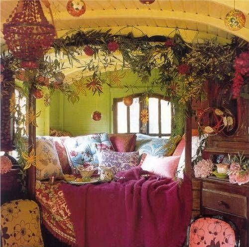 A fairytale bed in a tiny gypsy caravan