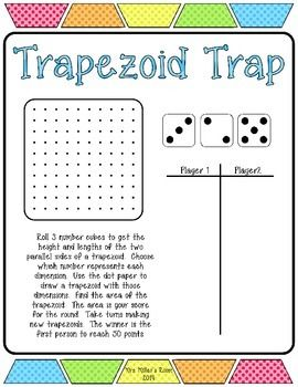 Included in this freebie is a game to help reinforce the skill of finding the area of trapezoids.  Always a hit with students!  Enjoy!