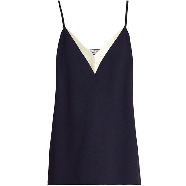 Lanvin V-neck crepe cami top (€495) ❤ liked on Polyvore featuring tops, navy, v-neck camisoles, navy blue tank, cami tank, navy camisole and v-neck tank