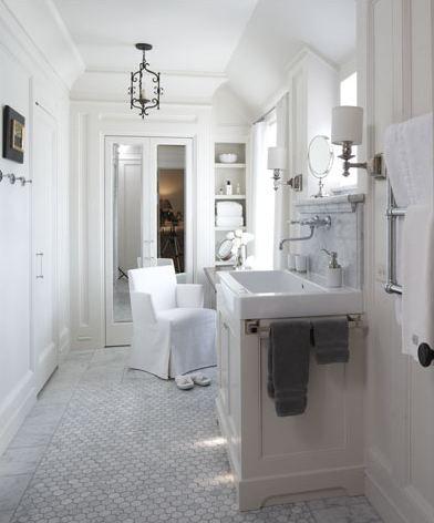 Inset shelving.: Idea, Carrara Marble, Tile Floors, Sinks, Marbles, Faucets, White Bathrooms, Hexagons Tile, Traceri Interiors