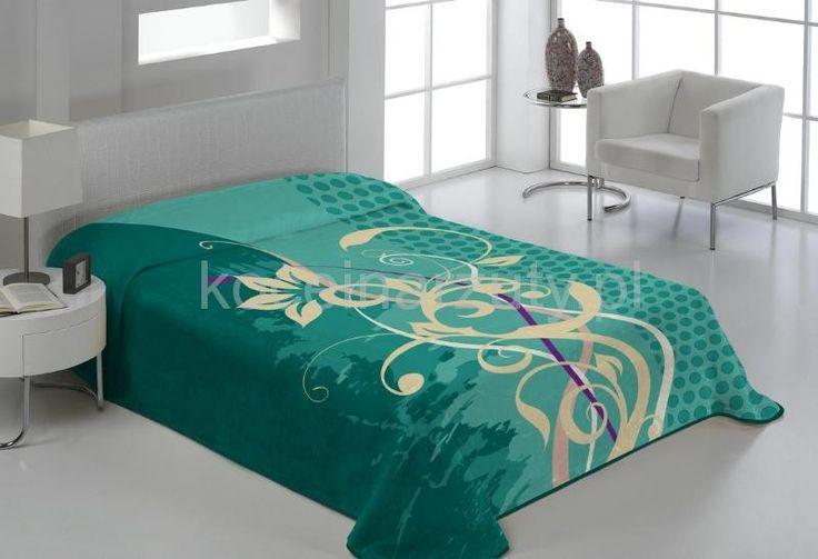 Nowoczesny turkusowy koc do sypialni we wzory
