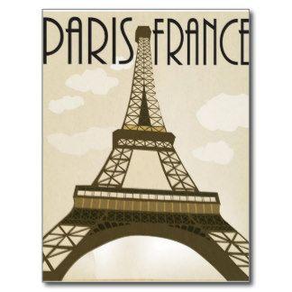 París Francia del viaje del vintage de Turismo Arte Postal