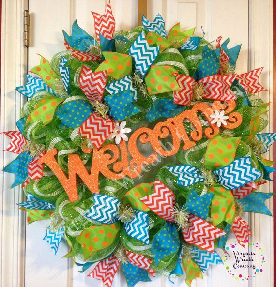 XL Welcome Deco Mesh Wreath by VirginiaWreathCo on Etsy, $85.00
