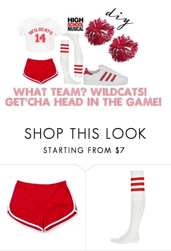"""""""DIY Halloween Costume: HSM Cheerleader"""" by fabubilous ❤ liked on Polyvore featuring Boohoo and adidas Originals"""
