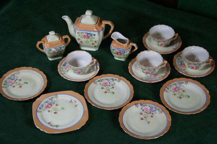 Vintage Child's Doll Tea Set or Service - Lustre and Hand Coloured Flowers